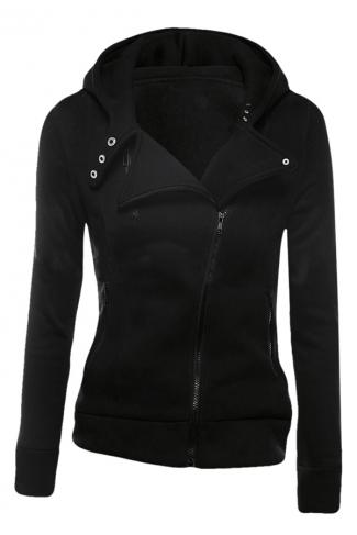 Womens Plain Long Sleeve Turndown Collar Oblique Zipper Hoodie Black