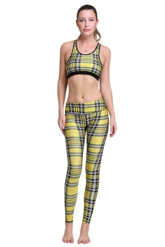 Womens Stylish Striped 3D Digital Printed Yoga Sports Bra Set Yellow