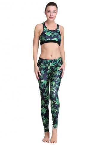 Womens Maple Leaf 3D Digital Printed Yoga Sports Bra Set Green