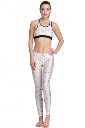 Womens Trendy Design 3D Digital Printed Yoga Sports Bra Set White