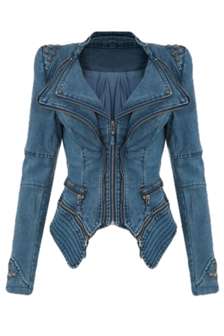 Womens Sharp Studded Shoulder Lapel Zipper Tuxedo Denim Jacket Blue