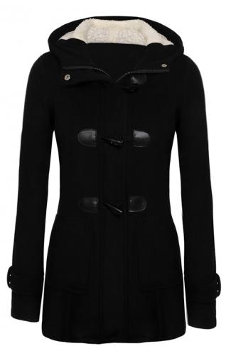 Womens Plain Hooded Long Sleeve Pocket Horns Deduction Slim Coat Black