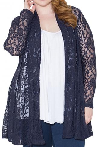 Womens Plain Long Sleeve Lace Crochet Plus Size Cardigan Navy Blue