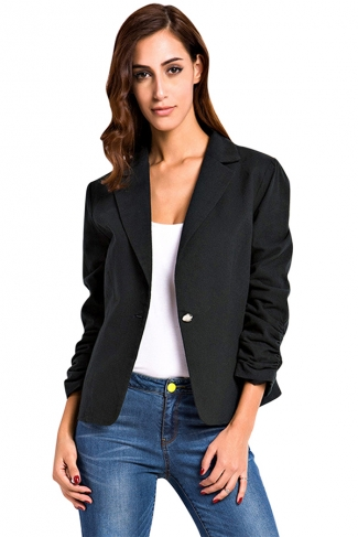 Womens Plain Turndown Collar One Button Design Blazer Black