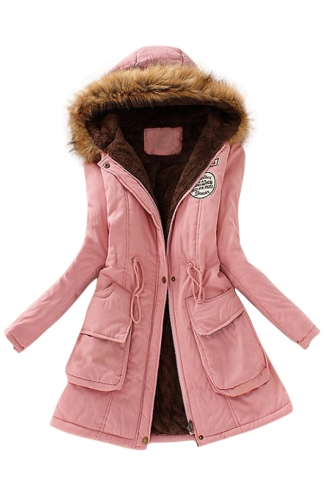Womens Faux Fur Hooded Drawstring Thick Lined Parka Coat Pink