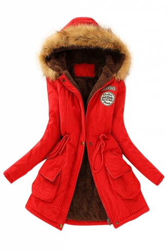 Womens Faux Fur Hooded Drawstring Thick Lined Parka Coat Red