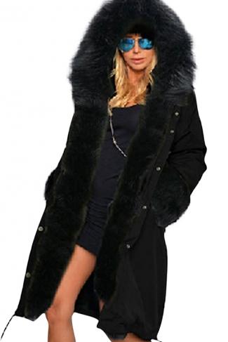 Womens Detachable Faux Fur Hooded Thick Warm Parka Coat Black