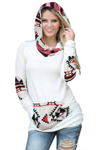 Womens Long Sleeve Aztec Print Spliced Pocket Pullover Hoodie White