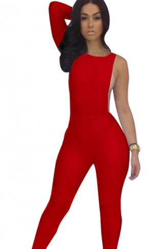 Womens Plain One Shoulder Backless Close-fitting Jumpsuit Red