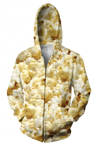 Womens Stylish Long Sleeve Zipper Popcorn 3D Print Hoodie Beige White