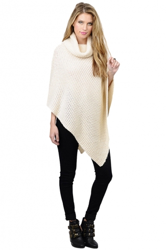 Womens Plain Asymmetrical Turtleneck Long Sleeve Poncho Sweater White