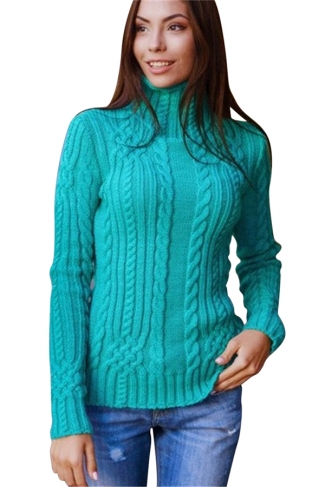Womens Plain High Collar Long Sleeve Cable Knit Sweater Turquoise
