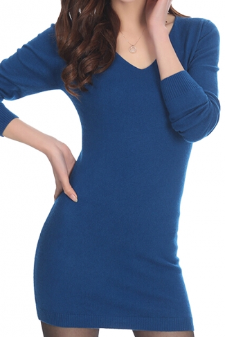 Womens Plain V Neck Long Sleeve Cashmere Pullover Sweater Blue