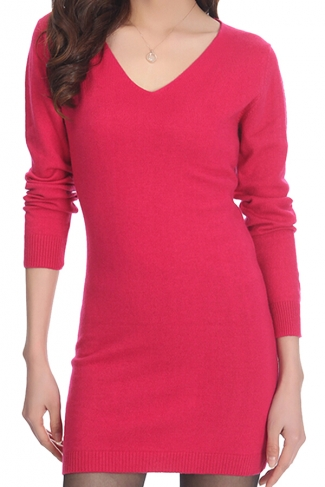 Womens Plain V Neck Long Sleeve Cashmere Pullover Sweater Rose Red