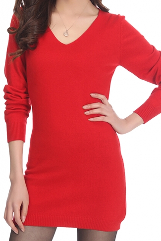 Womens Plain V Neck Long Sleeve Cashmere Pullover Sweater Red