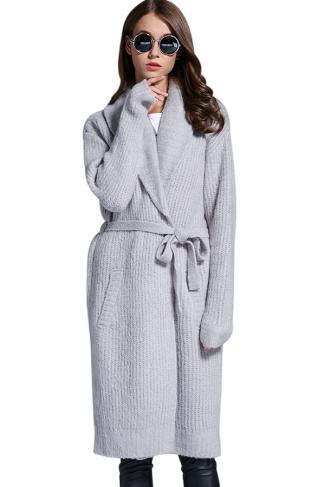 Womens Turndown Collar Long Sleeve Sash Knit Cardigan Gray