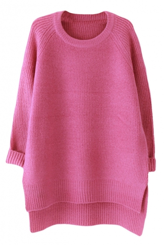Womens Plain Crewneck Long Sleeve High Low Knit Sweater Rose Red