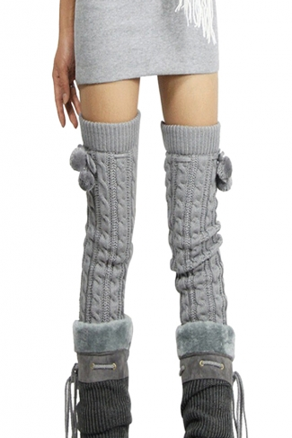 Womens Cable Knit Over Knee Fuzzy Ball Decor Long Stockings Light Gray