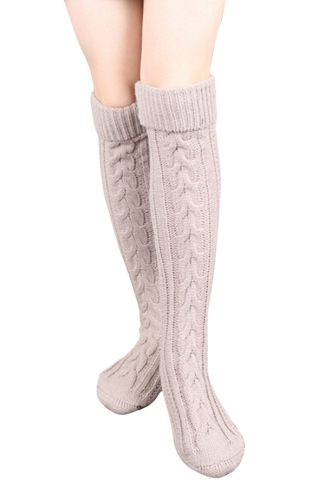 Womens Thick Warm Cable Knit Overknee Floor Stockings Khaki