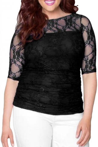 Womens Stylish Crewneck Half Sleeve Plus Size Lace Blouse Black