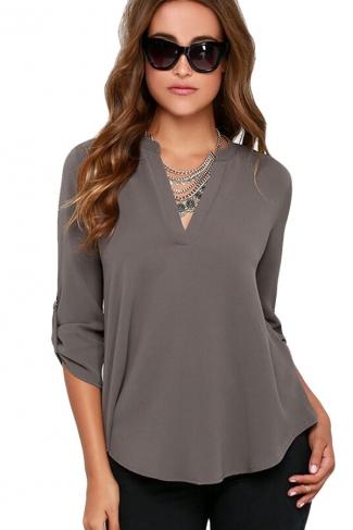 Womens Stylish Plain Long Sleeve V Neck Loose Chiffon Blouse Gray