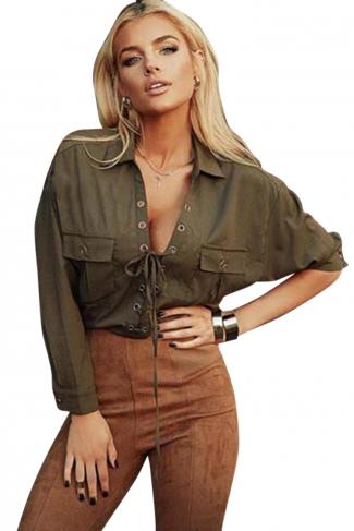 Womens Plain Turndown Collar Long Sleeve Lace Up Blouse Deep Green