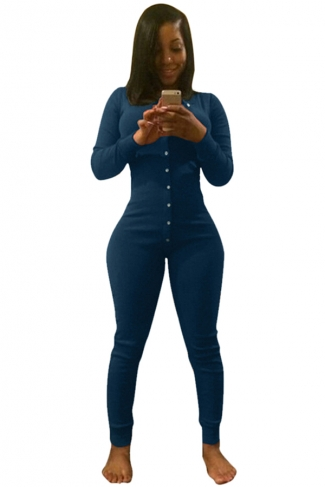 Womens Long Sleeve Deep V Neck Single-breasted Jumpsuit Blue