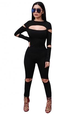 Womens Plain Crew Neck Long Sleeve Zipper Back Cut Out Jumpsuit Black