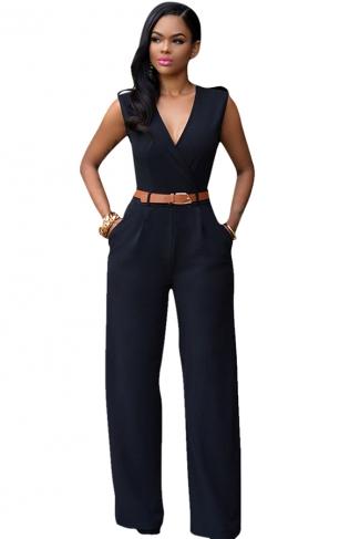 Womens Plain Sleeveless Deep V Neck Belt Jumpsuit Black