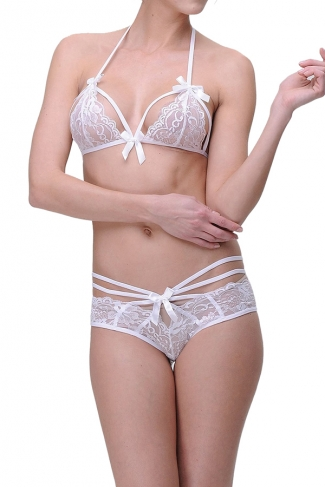 Womens Sexy Bowknot Trim Crochet Floral Bra and Lace Panty Sets White
