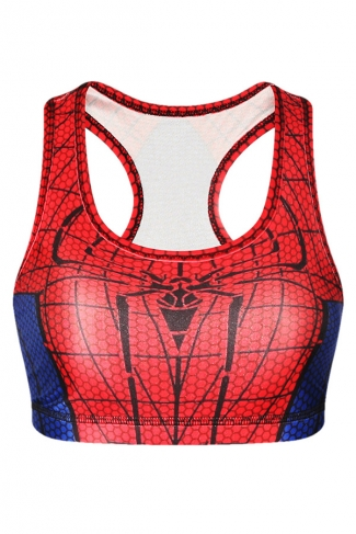Womens Stylish U Neck Spider-Man Printed Tank Crop Top Red