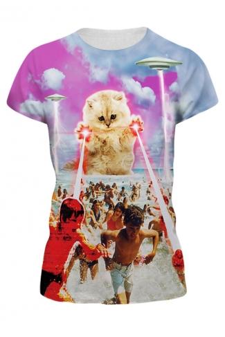 Womens Cute Laser Cat 3D Printed Crewneck Short Sleeve T-Shirt Pink