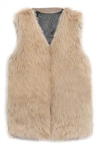 Womens Faux Fur V Neck Sleeveless Vest Coat Brown