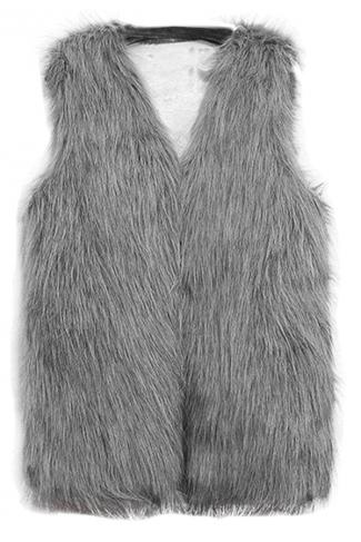 Womens Faux Fur V Neck Sleeveless Vest Coat Light Gray