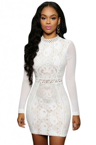 Womens Sexy Mesh Long Sleeve Lace Floral Mini Dress White