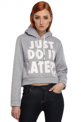 Womens Just Do It Later Crop Short Length Sweatshirt Hoodie?Gray
