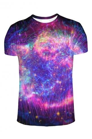 Womens Crew Neck Short Sleeve Galaxy Fireworks Print T-shirt Purple