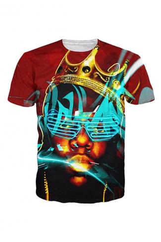 Womens Crew Neck Short Sleeve Neon Biggie 3D Digital Print T-shirt Red