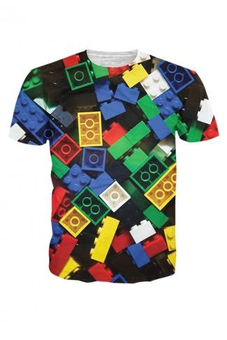Womens Crew Neck Short Sleeve Lego Bricks Digital Print T-shirt Green