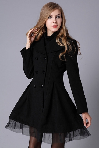 Womens Long Sleeve Double-breasted Tunic Lace Hem Trench Coat Black