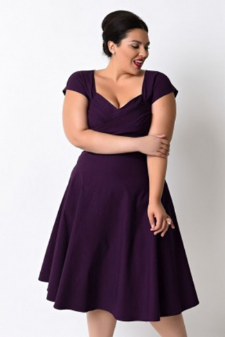 Womens Plus Size Short Sleeve Pleated Mini Dress Purple