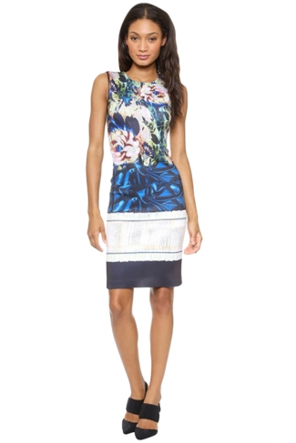 Womens Sexy Slimming Floral Printed Tank Dress Navy Blue