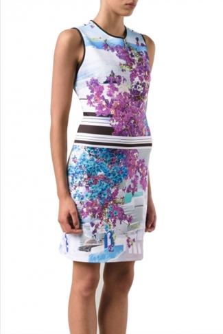 Womens Sexy Crewneck Floral Printed Tank Dress Purple