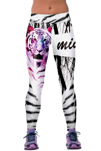Womens Fitness Tiger Printed Sports Leggings Pink
