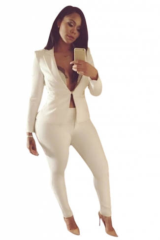Womens Elegant Plain V Neck Long Sleeve Blazer Suit White