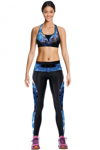 Womens Chic Starry Sky Printed Crop Top Sports Suit Blue
