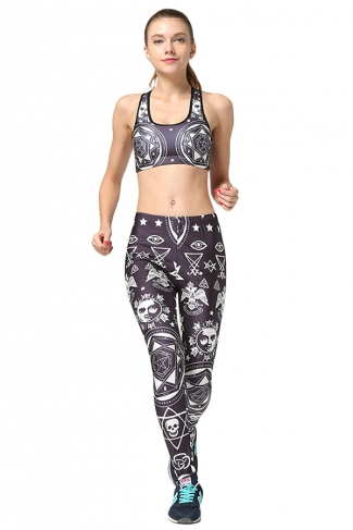 Womens Star Printed Fitness Yoga Bra & Sports Pants Suit Black
