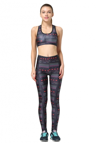 Womens Pacman Printed Fitness Yoga Bra & Sports Pants Suit Black