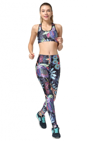Womens Flower Printed Fitness Yoga Bra & Sports Pants Suit Light Blue