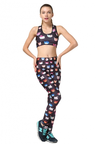 Womens Cat Printed Fitness Yoga Bra & Sports Pants Suit Black